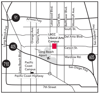 Map of the area showing the local freeways and location of the campus