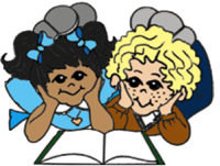 two cartooon girls laying down reading a book together